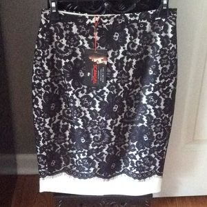 NWT black lace & white high waisted pencil skirt